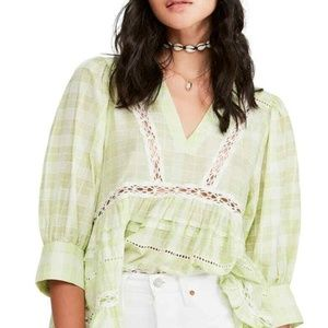 Free People Time Out Lace Tunic Top V-Neck